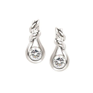 14KT WHITE GOLD 0.40CTTW ROUND DIAMOND KNOT SHAPED EARRINGS