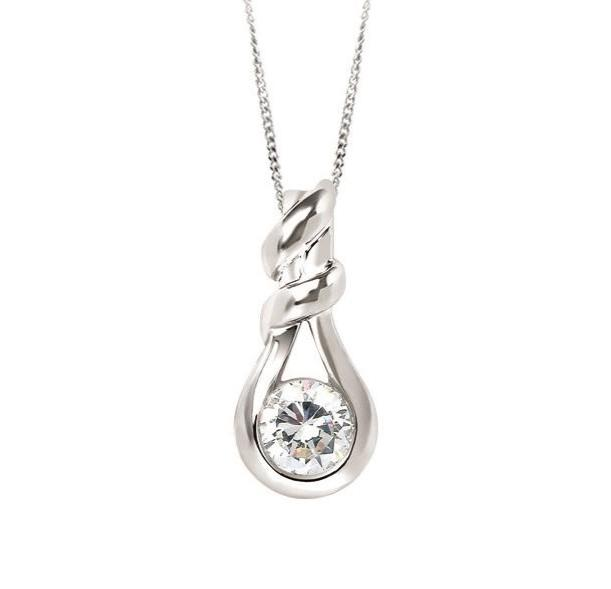 14KT WHITE GOLD 0.40CT ROUND DIAMOND KNOT SHAPED PENDANT