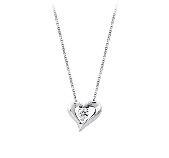 10KT WHITE GOLD DIAMOND HEART PENDANT