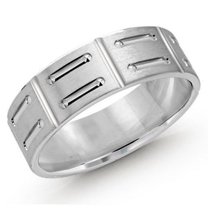 Patterned 10kt White Gold Men's Wedding Band