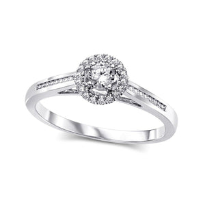 10KT WHITE GOLD ROUND HALO ENGAGEMENT RING