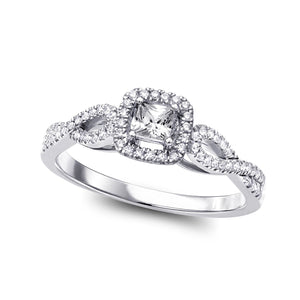 14KT WHITE GOLD SQUARE HALO INFINITY ENGAGEMENT RING