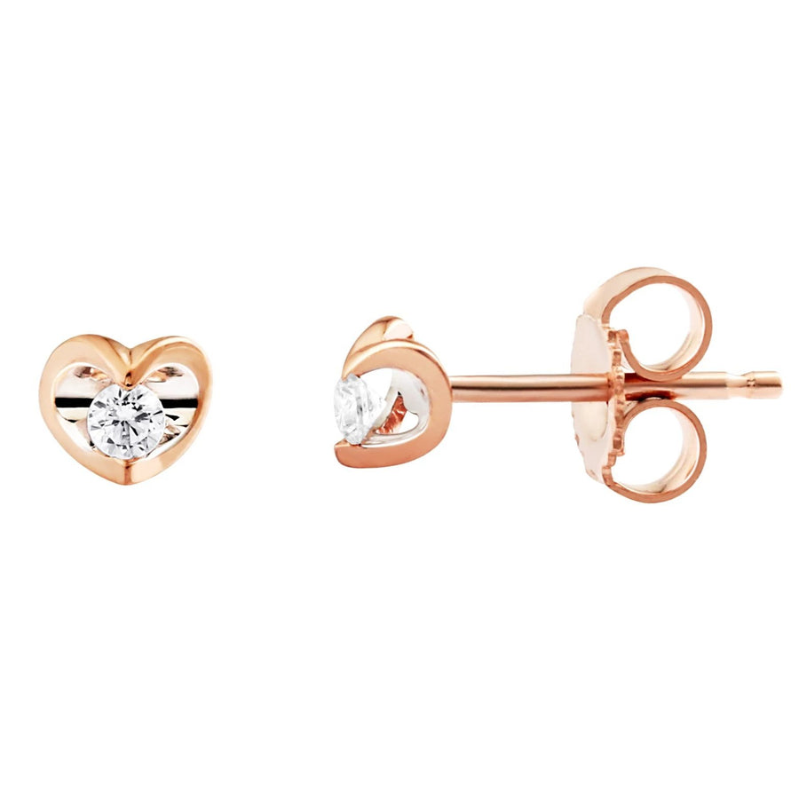 10KT ROSE GOLD HEART DIAMOND STUD EARRINGS