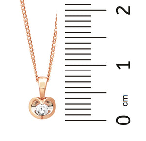 10KT TWO TONE HEART DIAMOND PENDANT