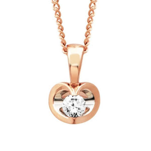 10KT ROSE GOLD HEART DIAMOND PENDANT