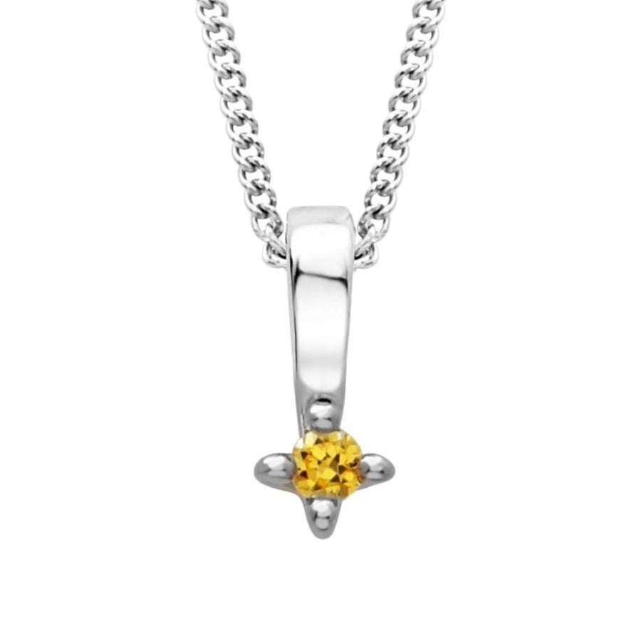 10kt White Gold Yellow Diamond Pendant
