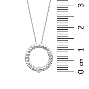 10kt White Gold Circle Diamond Pendant