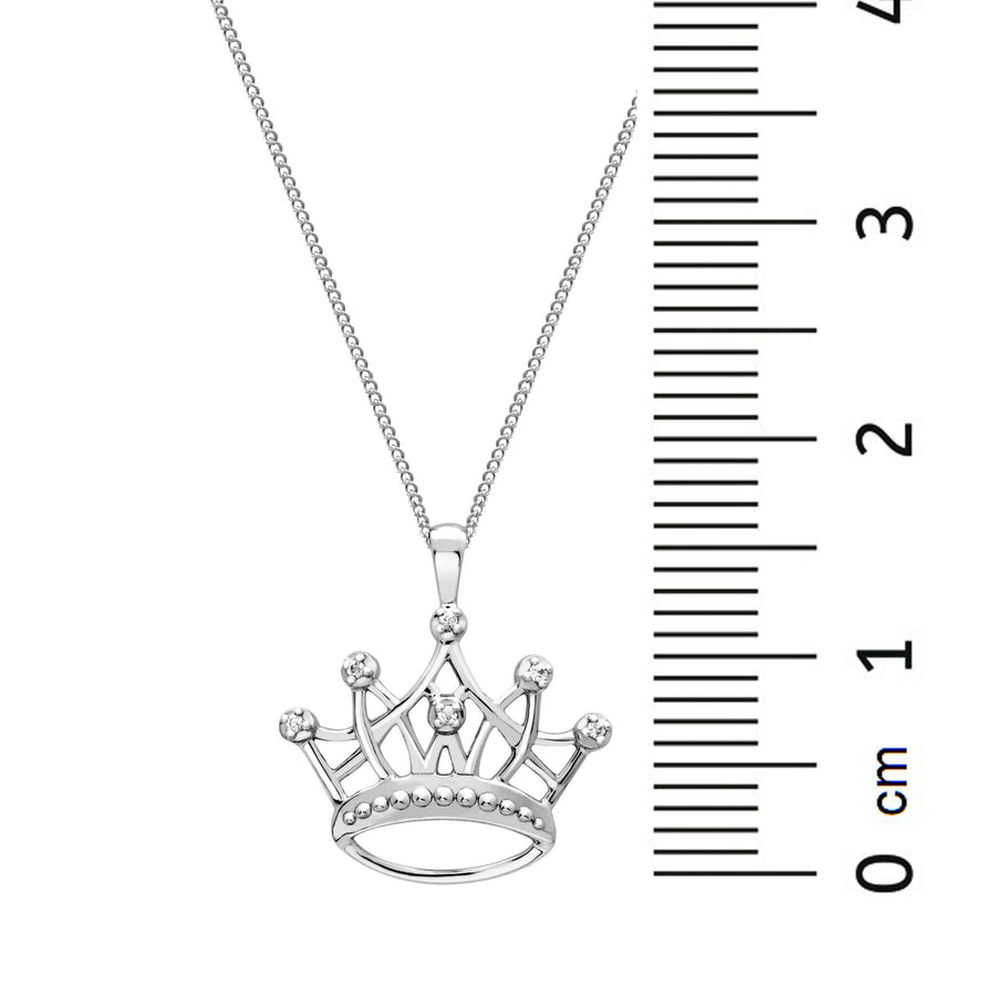 10KT WHITE GOLD CROWN DIAMOND PENDANT