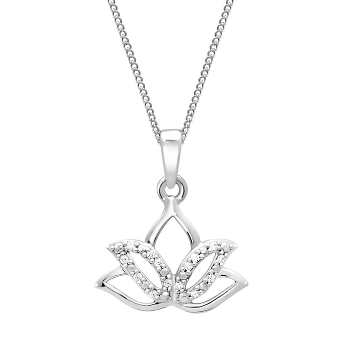 10KT GOLD LOTUS FLOWER DIAMOND PENDANT