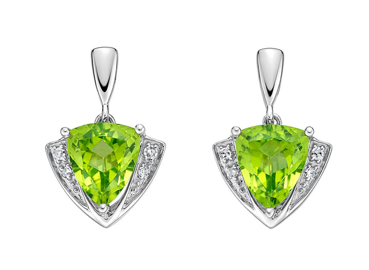 10kt White Gold Peridot and Diamond Earrings