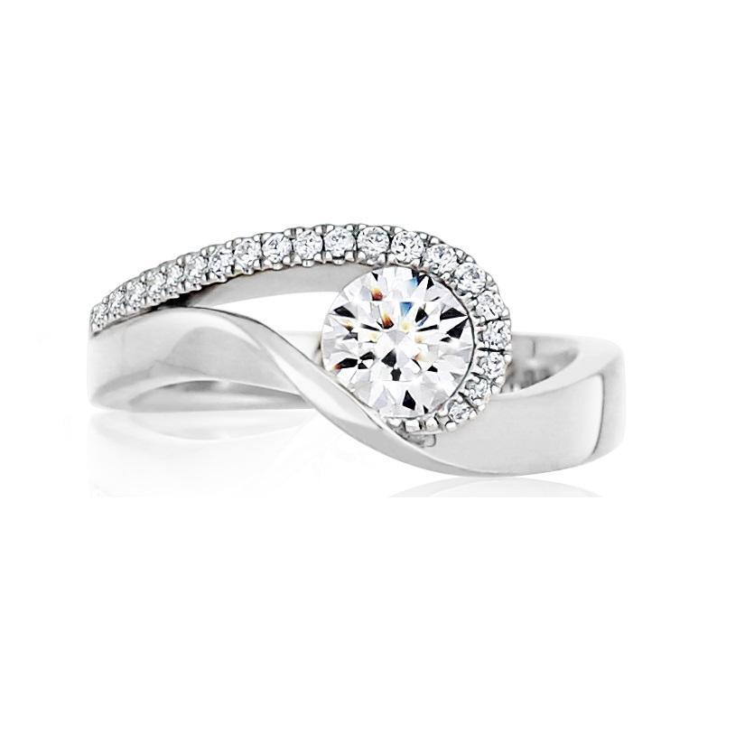 14KT WHITE GOLD 0.85CTTW CERTIFIED ENGAGEMENT RING