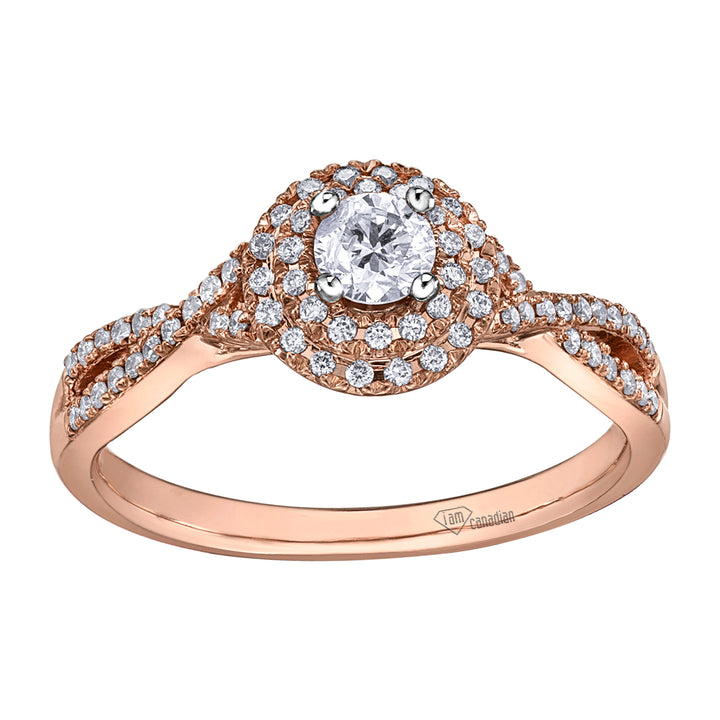 10kt Rose Gold 0.43cttw Halo Canadian Diamond Ring