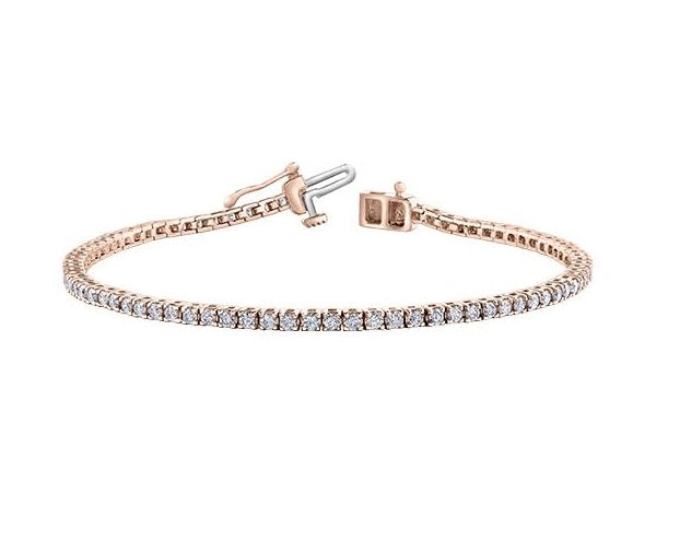 10kt Rose Gold 2.00cttw Diamond Tennis Bracelet