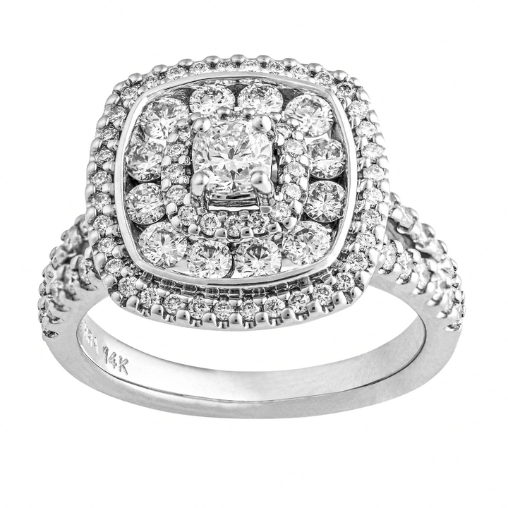 14KT CUSHION CUT CANADIAN DIAMOND CENTER 1.17CTTW HALO RING