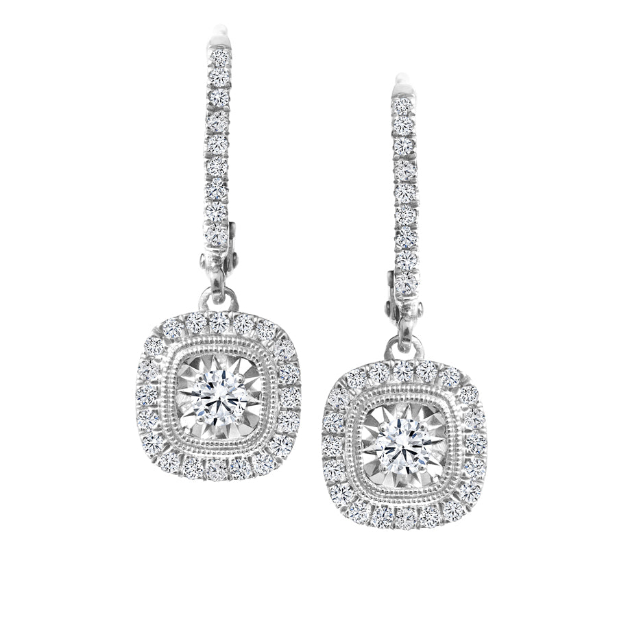 10kt 0.50cttw Canadian Halo Diamond Accent Drop Earrings