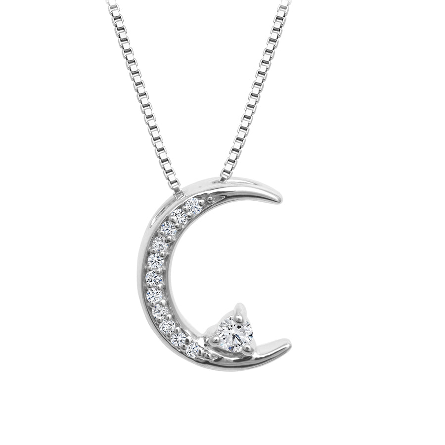 Sterling Silver Diamond Crescent Moon Pendant