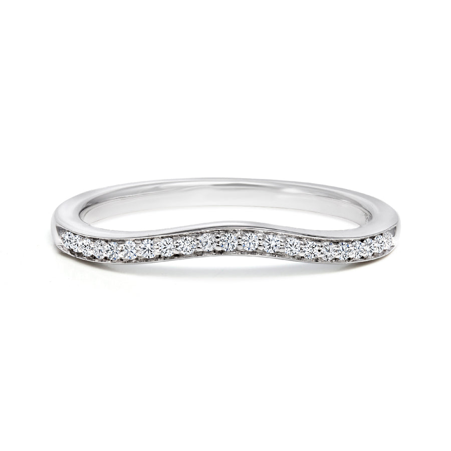 14kt White Gold Curved Diamond Wedding Band