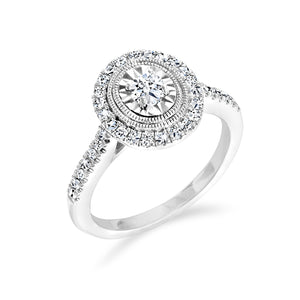 14kt White Gold 0.41cttw Oval Design Halo Engagement Ring