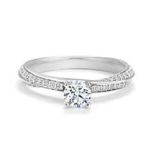 14kt White Gold 0.74cttw Canadian Diamond Engagment with Twisting Band