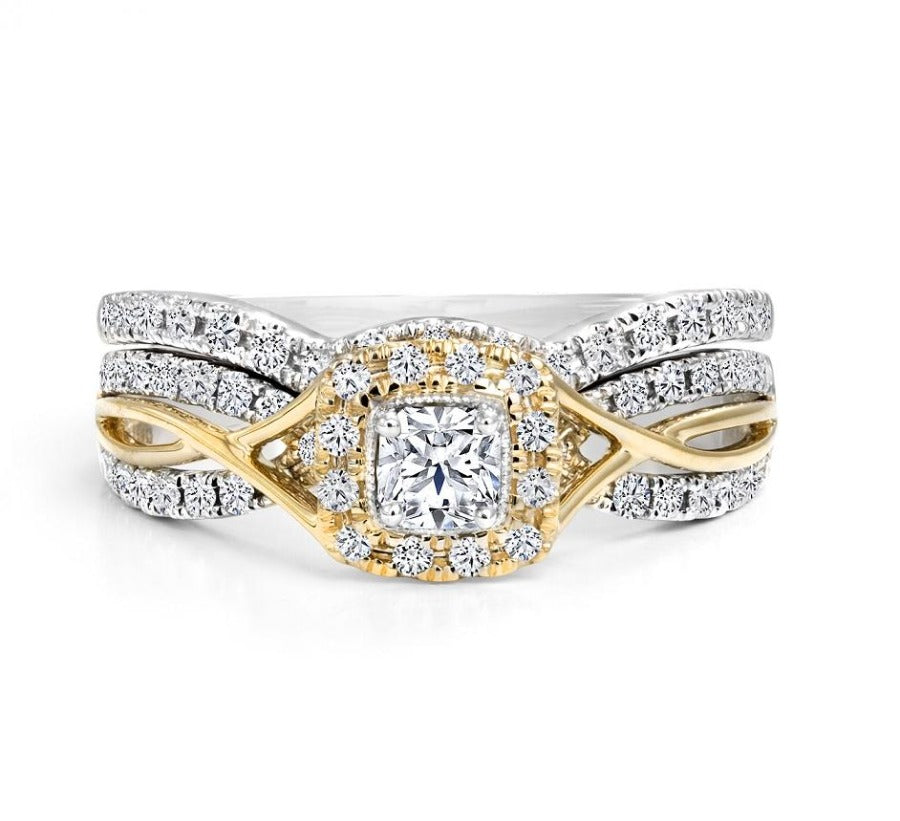 14kt White And Yellow Gold 0.61cttw Ideal Square Halo Canadian Diamond Wedding Set
