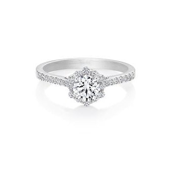 14kt White Gold 0.48cttw Halo Canadian Diamond Engagement Ring