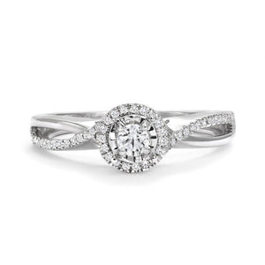 10KT GOLD ROUND HALO INFINITY RING WITH CANADIAN DIAMOND