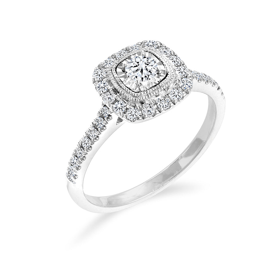 14kt White Gold 0.25cttw Square Design Halo Engagement Ring