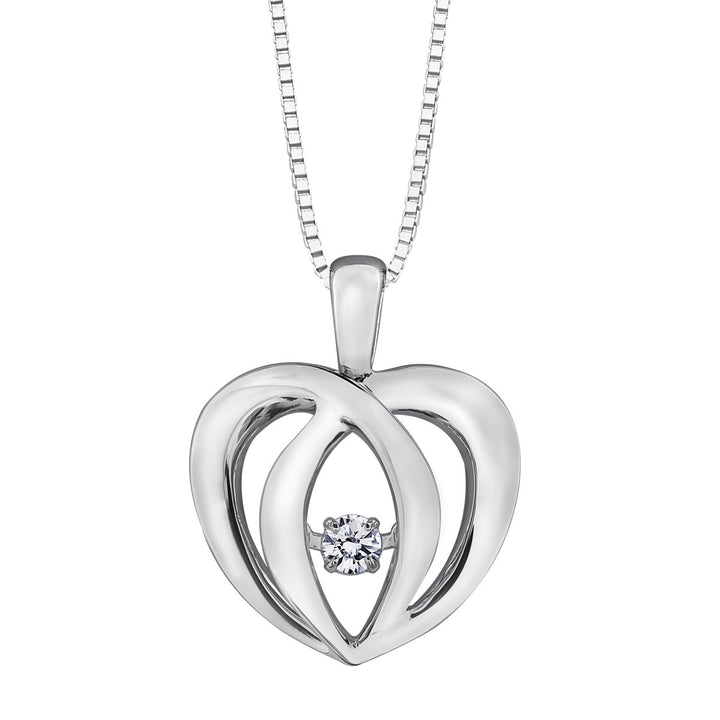 Sterling Silver Heart Diamond Pendant