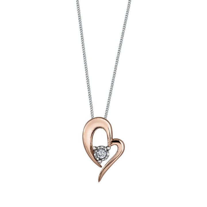 10kt Two Toned Gold Solitaire Diamond Heart Pendant