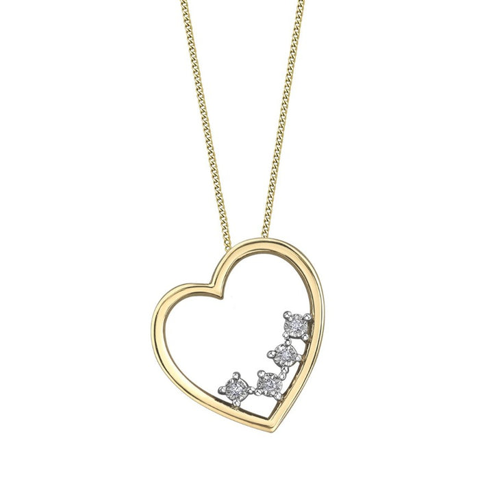 10kt Yellow Gold Diamond Heart Pendant