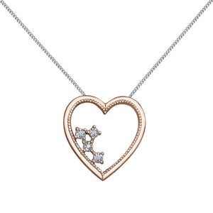 10kt Rose Gold Diamond Heart Pendant