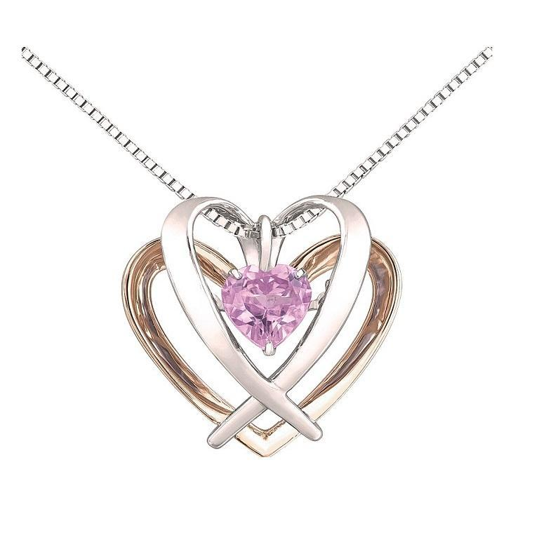 Double Heart Sterling Silver and 10kt Rose Gold Pendant with Pink Sapphire