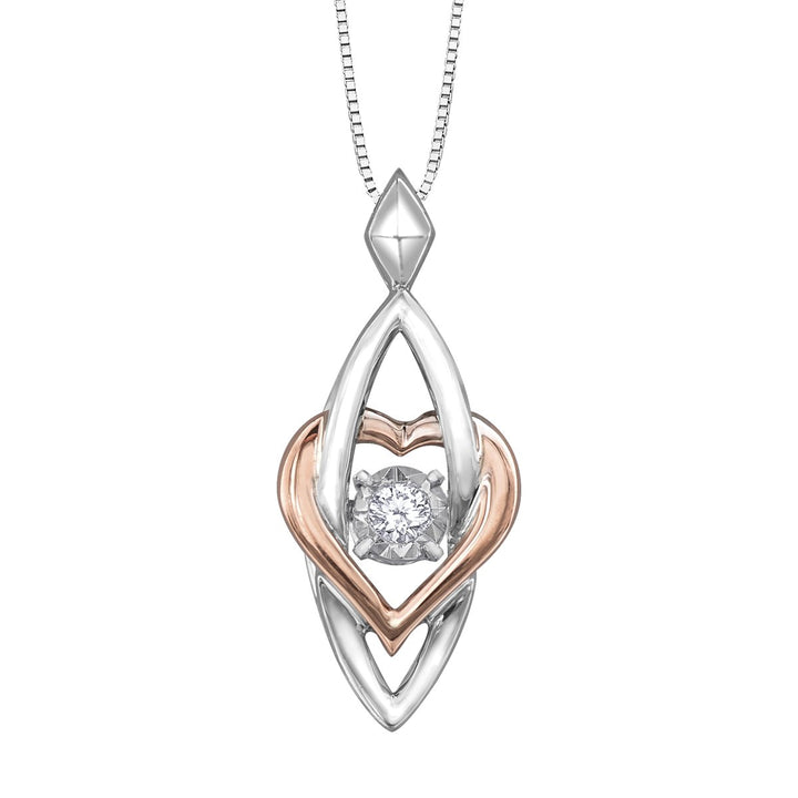 10KT Gold Two Tone Heart Diamond Pendant