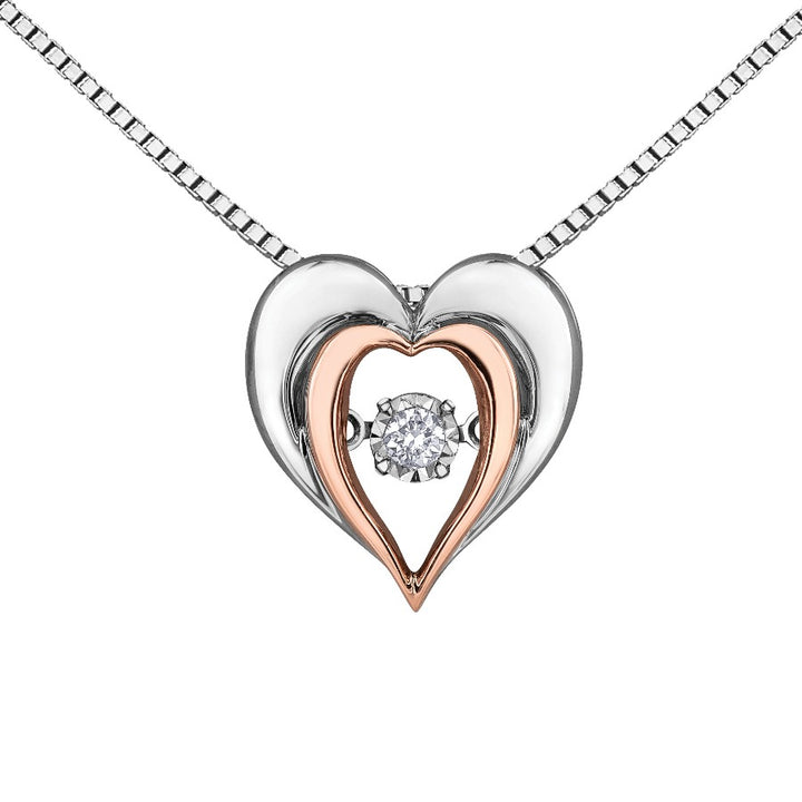 Sterling Sliver and 10kt Rose Gold Diamond Heart Pendant
