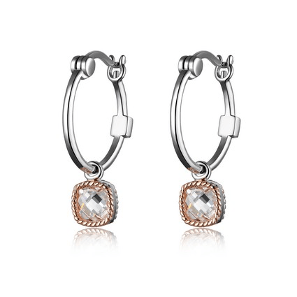 Sterling Silver and Pink Tone Hoop Earrings