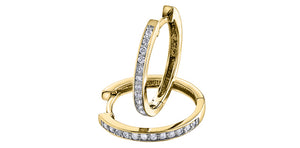 10kt Yellow Gold 0.25cttw Channel Set Diamond Hoop Earrings