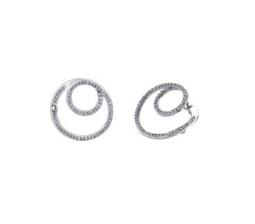 10kt White Gold 0.65cttw Swirl Earrings