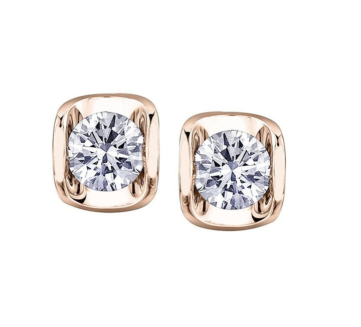 14kt Rose Gold 0.10cttw Canadian Diamond Stud Earrings