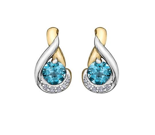 10KT Two Tone Blue Topaz and Diamond Earrings