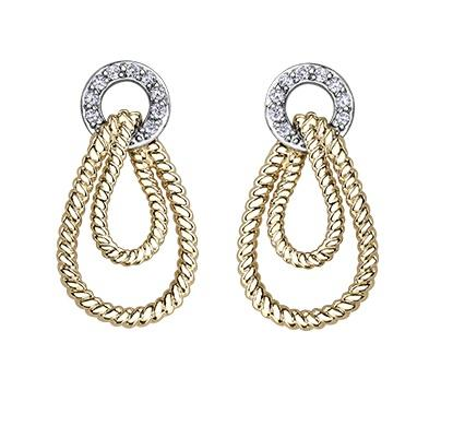 10kt Yellow and White Gold Diamond Earrings