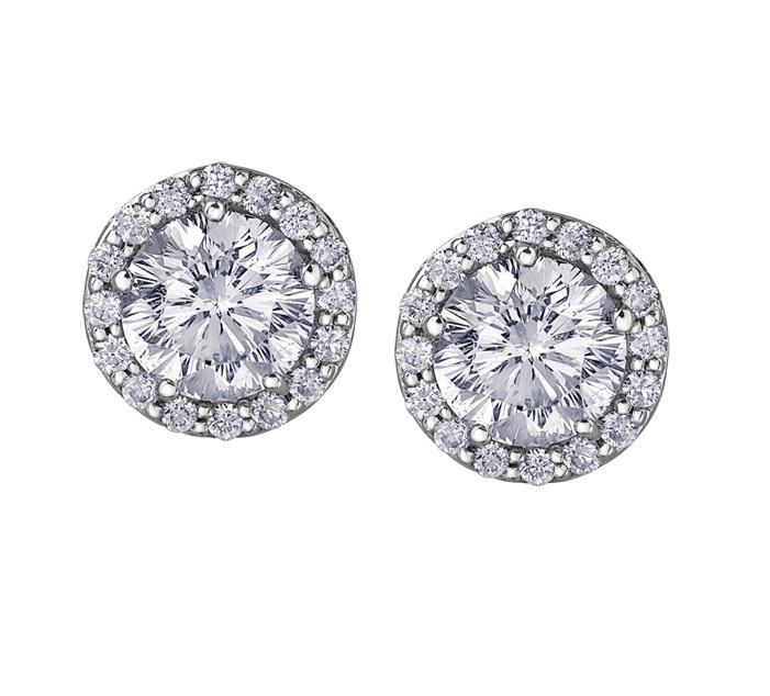 14kt Halo 0.46cttw Diamond Stud Earrings Certified Canadian Center Stone