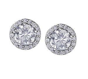14kt Halo Diamond Stud Earrings Certified Canadian Center Stone