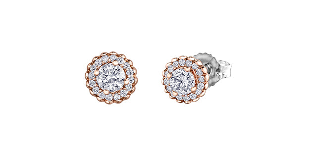 14kt Rose Gold 0.40cttw Canadian Diamond Stud Earrings