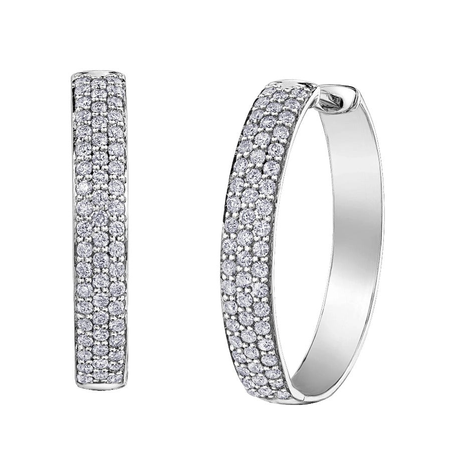10KT WHITE GOLD 0.50CTTW DIAMOND HOOP EARRINGS