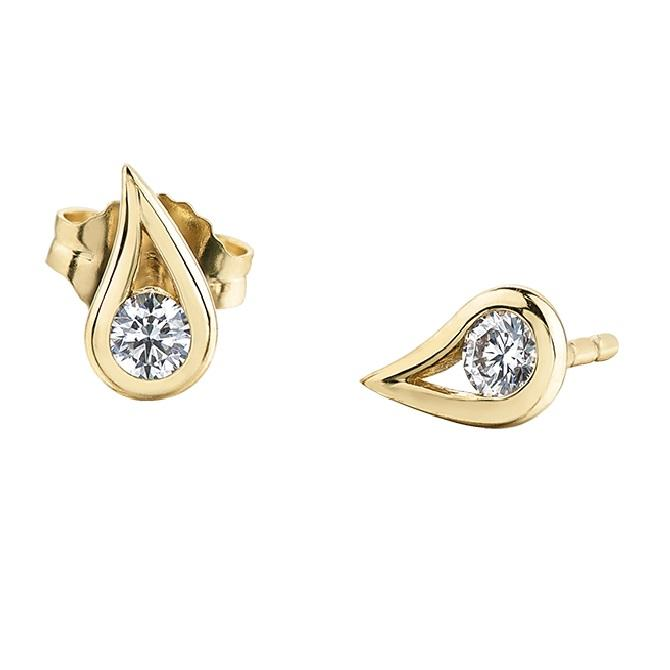14KT YELLOW GOLD DROP DIAMOND STUD EARRINGS