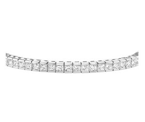 14kt White Gold 5.00ttw Certified Princess Cut Diamond Tennis Bracelet