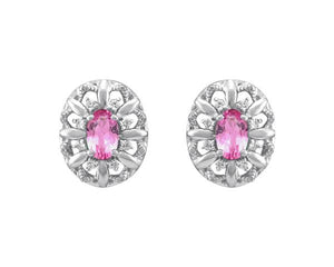 10kt White Gold, Pink Sapphire, and Diamond Earrings
