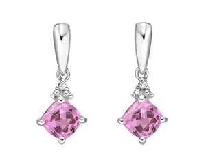 10kt White Gold Pink Sapphire and Diamond Earrings