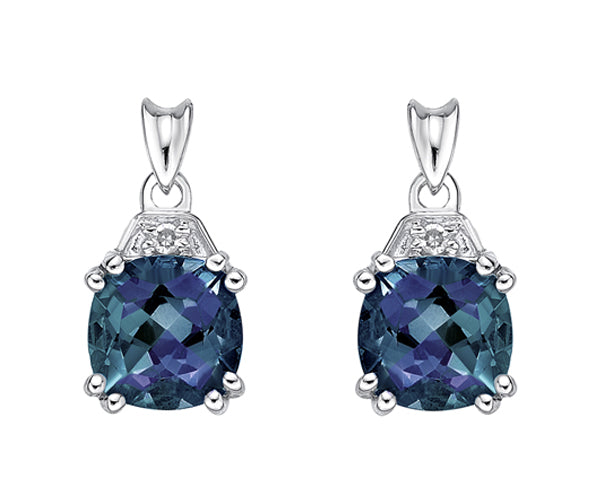 10kt White Gold Diamonds and Created Alexandrite Earrings