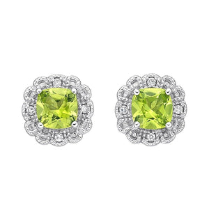 10kt White Gold Peridot and Diamond Stud Earrings